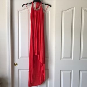 Coral cotton dress with jeweled neckline